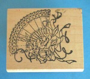 FAN & ROSES Rubber Stamp HAMPTON ART