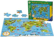 RAVENSBURGER ANIMALS OF THE WORLD PIECE CHILDRENS MAP FLOOR JIGSAW PUZZLE - NEW