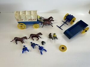 Vintage REL Plastic Wagons and other Western Pieces Horses Drivers