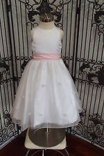 b35e6a60b2 SR254 SWEET BEGINNINGS 616 SZ 2 WHITE W PINK SASH FLOWER GIRL FLOWERGIRL  DRESS