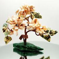 Vintage Prosperity Tree Sculpture Wired Art Shells Flowers Green Base Bonsai