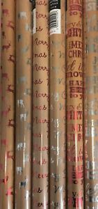 6 Rolls Of Kraft Brown Christmas Wrapping Paper Foil Script Stag 2M x 70cm