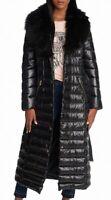 Karl Lagerfeld Women's Puffer Jacket Black Size XL Faux Fur Longline $320 #564