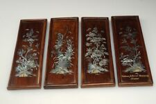 Vintage Vietnamese 4-Panel Mother of Pearl On Wood 4-Seasons Hanoi University