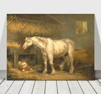"""GEORGE MORLAND - Old Horses Stabled With a Dog - CANVAS ART PRINT POSTER -36x24"""""""