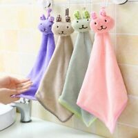 Soft Rabbit Shaped Lovely Coral Velvet Animal Towel Kitchen Hanging Towels