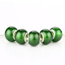 5pcs Jelly Simple SILVER MURANO bead LAMPWORK fit European Charm Bracelet D392