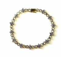 "14k yellow gold tanzanite 7.5"" tennis bracelet 7.3g estate vintage antique"