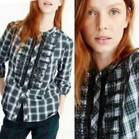 J. Crew Women's Xsmall Embellished Green Plaid Button Up Shirt Blouse Top
