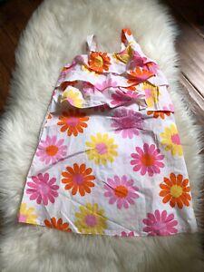 NWT Hanna Andersson Girls Pink/Yellow Daisy Sleeveless Sundress Dress Sz 100 4T