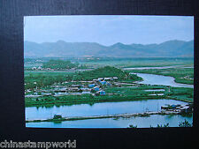 old China hk postcard,the shumchun river viewed fm a hill at Lukmachow,unused