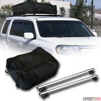 "Silver Aluminum 50"" Oval Roof Rack Rail Cross Bars+Clamps+Carrier Storage Bag S4"