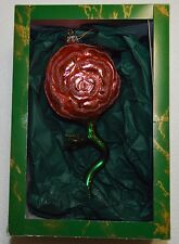 Whitehurst Imports Christmas Ornament Pink Rose Hand Blown Glass Made in Poland