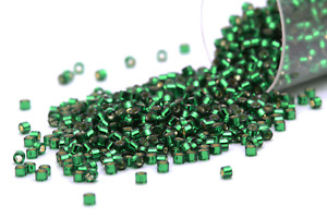 Miyuki Delicas 11/0 Silver Lined DK.Green Seed Beads DB-148