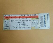 99.5 Wycd Holiday Concert Featuring Big & Rich The Palace Ticket Stub