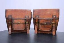 2X Motorcycle Side Bag Brown Leather side Pouch Saddlebags Panniers Saddle 2Bags