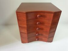 WOODEN SQUARE CHEST OF 5 drawers nature wood est. high 22 cm