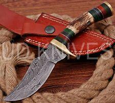 8 INCH UD CUSTOM DAMASCUS STEEL HUNTER KNIFE Stag/ANTLER  HANDLE B3-11534