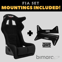 Bimarco Grip FIA Racing Seat BLACK VELOUR Set with Bracket Mountings Included!