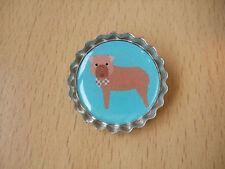 Handmade Dogue de Bordeaux Brooch Bottle Cap Badge Dog Puppy Cartoon Turquoise