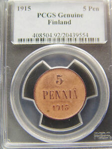 1915 FINLAND 5 PEN PCGS GENUINE