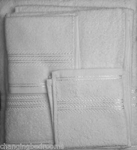 WHITE 6 PIECE HOTEL RANGE TOWEL SET 550GSM 100% EGYPTIAN COTTON FACE HAND SHEET