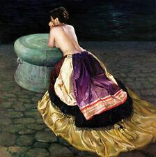 Oil female portrait Oriental beauty Chinese ethnic minority girls & bronze-drum
