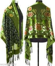 2015 Wholesale Green Peacock Silk Velvet Beaded Long Scarf Wraps Shawl New Gift