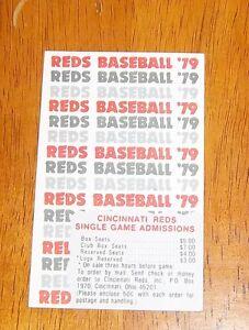 cincinnati reds pocket schedule 1979 MBL # 2