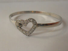 925 SILVER BABY BANGLE. STONE SET HEART BANGLE