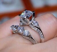Chic 2pcs/set White Sapphire Birthstone 925 Silver Ring Women's Wedding Jewelry