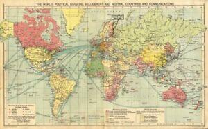 WORLD WAR 2.Belligerent/Neutrals Naval bases Occupied Poland/Manchuria 1940 map
