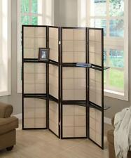 Cappuccino Brown Finish Folding Screen with Wood Shelves by Coaster 900166