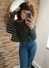 Sexy slouch off shoulder oversized effortless black & green striped top.Size 10