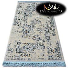 """VERY SOFT WOOL & ACRYLIC RUGS cream """"MANYAS"""" flowers Thick & Densely Woven"""