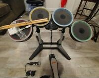 Wii Rock Band Bundle Set Drums Pedal Guitar Dongles Mic Tested w dongle