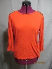 Ralph Lauren women's sz XL orange ribbed long sleeve blouse w/faux leather
