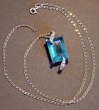 Pendentif Métal Oxyde Zirconium Bleu et Blanc + Chaîne argent 925