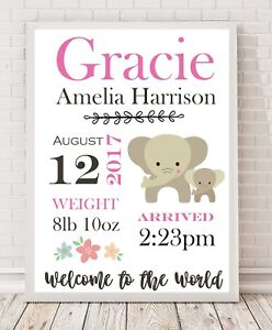 Personalised Baby Gift / Nursery Print / Birth details Christening A4 PINK PO7