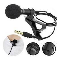 Mini Lavalier Mic Microphone For Cell Phone PC Recording 3.5mm Clip-on Lapel US