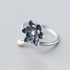 925 Silver Open Ring Blue Lotus Flower Women Retro Style Lady Prevent Allergy