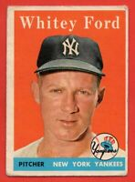 1958 Topps #320 Whitey Ford VG-VGEX Hall of Fame New York Yankees FREE SHIPPING