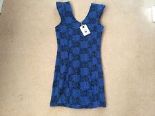 Mika & Gala Womens Dress Blue Black Size 10 BNWT NEW Shoulder Pads Party Hot