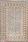 Vintage Geometric Traditional Oriental Area Rug Wool/ Silk Handmade 4x6 Carpet