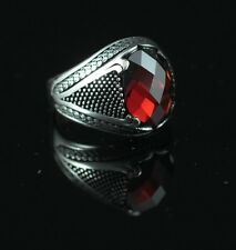 TURKISH HANDMADE STERLING SILVER 925K MEN'S RUBY RING  SIZE 9,10,11,12