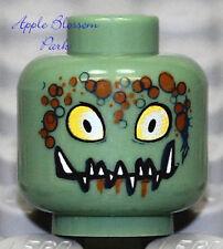 NEW Lego Sand Green MINIFIG HEAD Alien Eyes Halloween Monster Fangs/Space Police