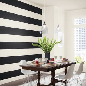 """Black 6"""" Wall Stripe Room Tape Decal Peel and Stick Lines Striped Wall Decals"""