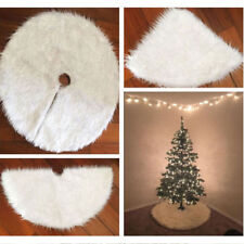 White Snow Plush Skirt Base Floor Mat Cover XMAS Christmas Tree Decor 80CM LIGH