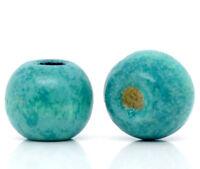 200 Stück Holzperlen Rund Blau 9 x 10 mm Holz Perlen Basteln Schnullerketten Diy