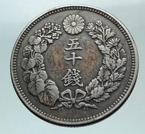 1898 JAPAN Emperor MUTSUHITO Silver 50 Sen Meiji Sunburst JAPANESE Coin i82171